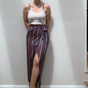 Banana republic striped maxi skirt with slit